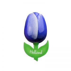Houten Tulp - Magneet - Blauw - 9 cm