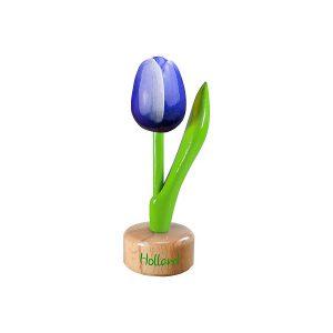 Houten Tulp op voetstuk - Holland - Blauw - 8,5cm