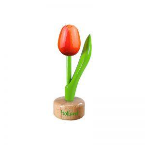 Houten Tulp op voetstuk - Holland - Oranje