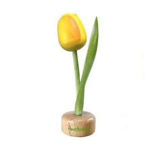 Houten Tulp op voetstuk - Holland - Geel - 20 cm