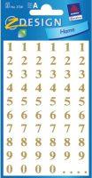 Cijferetiket - Goudkleurige cijfers - 1 t/m 9 bij debadeend.nl