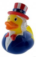 Badeend Uncle Sam - 8,5 cm bij debadeend.nl