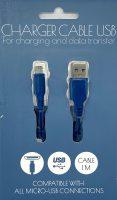 Micro USB kabel - Laad en Data - 1 meter - Blauw bij debadeend.nl