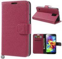 Telefoonhoesje Wallet Bookcase Roze voor Samsung Galaxy S5 bij debadeend.nl